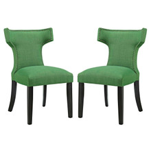 Curve Dining Side Chair Fabric Set of 2, Green, Fabric 11840