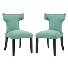 Curve Dining Side Chair Fabric Set of 2, Blue, Fabric 11842