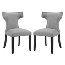 Curve Dining Side Chair Fabric Set of 2, Grey, Fabric 11843