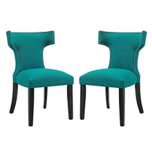 Curve Dining Side Chair Fabric Set of 2, Blue, Fabric 11844