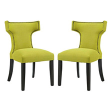 Curve Dining Side Chair Fabric Set of 2, Green, Fabric 11845