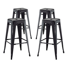 Promenade Bar Stool Set of 4, Black, Metal 11932