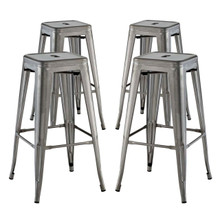 Promenade Bar Stool Set of 4, Silver, Metal 11934