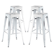 Promenade Bar Stool Set of 4, White, Metal 11935