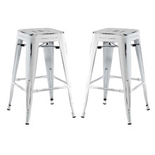 Promenade Counter Stool Set of 2, White, Metal 11939