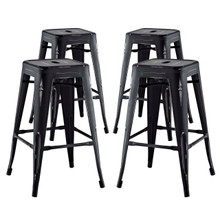 Promenade Counter Stool Set of 4, Black, Metal 11940