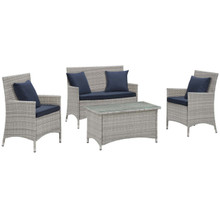 Bridge Four PCS Outdoor Patio Patio Conversation Set with Pillow Set, Navy, Rattan 11946
