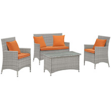Bridge Four PCS Outdoor Patio Patio Conversation Set with Pillow Set, Orange, Rattan 11947