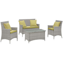 Bridge Four PCS Outdoor Patio Patio Conversation Set with Pillow Set, Green, Rattan 11948