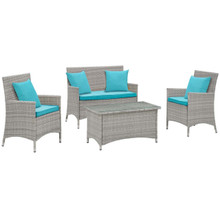 Bridge Four PCS Outdoor Patio Patio Conversation Set with Pillow Set, Blue, Rattan 11949