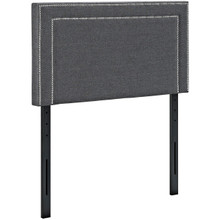Jessamine Twin Upholstered Fabric Headboard, Grey, Fabric 12063