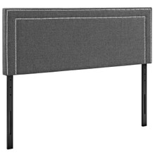 Jessamine Queen Upholstered Fabric Headboard, Grey, Fabric 12078