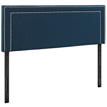 Jessamine King Upholstered Fabric Headboard, Navy, Fabric 12084