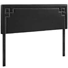 Josie King Upholstered Vinyl Headboard, Black, Faux Leather 12172