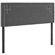Josie King Upholstered Fabric Headboard, Grey, Fabric 12175