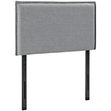 Camille Twin Upholstered Fabric Headboard, Grey, Fabric 12183
