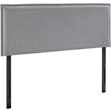 Camille King Upholstered Fabric Headboard, Grey, Fabric 12199