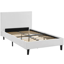 Anya Twin Vinyl Bed, White, Faux Leather 12202