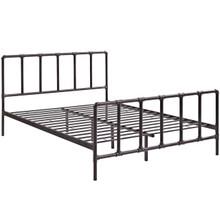 Dower Queen Stainless Steel Bed, Brown, Metal 12295