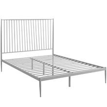 Annika Queen Platform Bed, Grey, Metal 12386