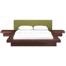 Freja Three PCS Queen Fabric Bedroom Set, Green, Wood 12430