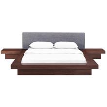 Freja Three PCS Queen Fabric Bedroom Set, Grey, Wood 12431