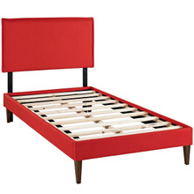 Camille Twin Fabric Platform Bed with Squared Tapered Legs, Red, Fabric 12515