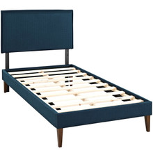 Camille Twin Fabric Platform Bed with Squared Tapered Legs, Navy, Fabric 12516