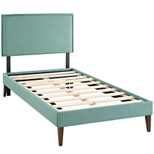 Camille Twin Fabric Platform Bed with Squared Tapered Legs, Blue, Fabric 12518