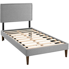 Camille Twin Fabric Platform Bed with Squared Tapered Legs, Grey, Fabric 12519