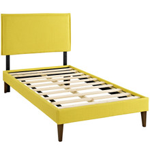 Camille Twin Fabric Platform Bed with Squared Tapered Legs, Yellow, Fabric 12520