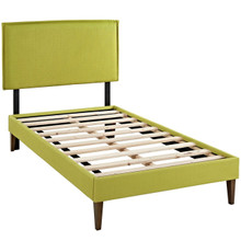 Camille Twin Fabric Platform Bed with Squared Tapered Legs, Green, Fabric 12521