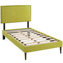 Camille Twin Fabric Platform Bed with Round Tapered Legs, Green, Fabric 12563