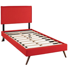 Camille Twin Fabric Platform Bed with Round Splayed Legs, Red, Fabric 12609