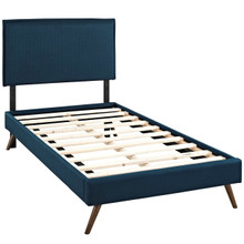 Camille Twin Fabric Platform Bed with Round Splayed Legs, Navy, Fabric 12610