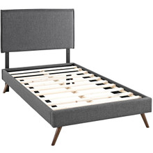 Camille Twin Fabric Platform Bed with Round Splayed Legs, Grey, Fabric 12611