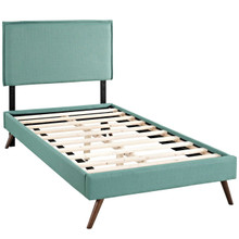 Camille Twin Fabric Platform Bed with Round Splayed Legs, Blue, Fabric 12612