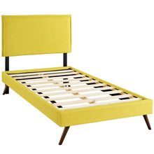 Camille Twin Fabric Platform Bed with Round Splayed Legs, Yellow, Fabric 12614