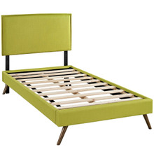 Camille Twin Fabric Platform Bed with Round Splayed Legs, Green, Fabric 12615
