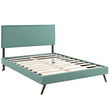 Camille Queen Fabric Platform Bed with Round Splayed Legs, Blue, Fabric 12659
