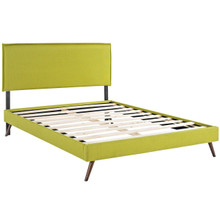 Camille Queen Fabric Platform Bed with Round Splayed Legs, Green, Fabric 12661