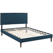 Camille Queen Fabric Platform Bed with Squared Tapered Legs, Navy, Fabric 12662