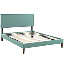 Camille Queen Fabric Platform Bed with Squared Tapered Legs, Blue, Fabric 12664