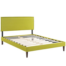 Camille King Fabric Platform Bed with Squared Tapered Legs, Green, Fabric 12681