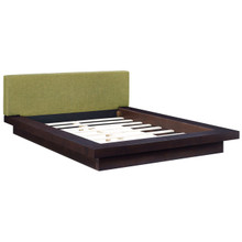 Freja Queen Fabric Platform Bed, Green, Fabric 12988