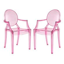 Casper Dining Armchairs Set of 2, Pink, Plastic 13063