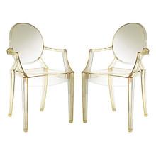 Casper Dining Armchairs Set of 2, Yellow, Plastic 13065