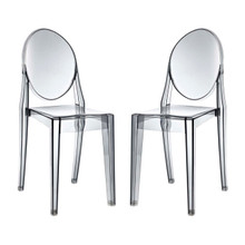 Casper Dining Chairs Set of 2, Grey, Plastic 13066