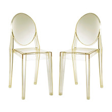 Casper Dining Chairs Set of 2, Yellow, Plastic 13068