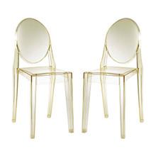 Casper Dining Chairs Set of 2, Yellow, Plastic 13068